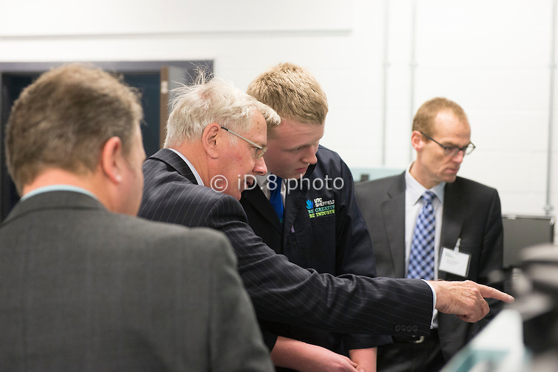 HRH The Duke of Gloucester KG GCBO talks to Thomas Gladwin, a student at the UTC