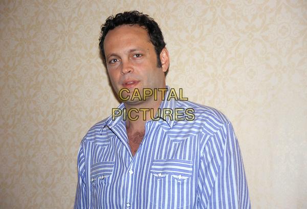 VINCE VAUGHN.March 2005.headshot portrait blue striped shirt chest hair.www.capitalpictures.com.sales@capitalpictures.com.© Capital Pictures.