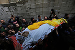 Mourners carry the body of Palestinian Youssef el-Daya, 15, who was shot dead by Israeli forces during clashes with Israeli troops in tents protest where Palestinians demand the right to return to their homeland at the Israel-Gaza border, during his funeral in Gaza City, on February 23, 2019. Photo by Ashraf Amra