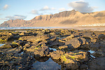 Lanzarote, Canary islands, SpainLate afternoon light on beach and cliffs La Caleta de Famara, Lanzarote, Canary islands, Spain