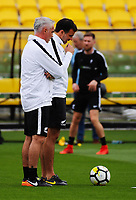 Coaches Darren Bazeley and Anthony Hudson. All Whites training for 2018 FIFA World Cup Russia qualifier against Peru at Westpac Stadium in Wellington, New Zealand on Friday, 10 November 2017. Photo: Dave Lintott / lintottphoto.co.nz