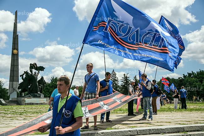UKRAINE, 29.06.2014, Luhansk. Separatistischer &quot;Marsch der Freiheit&quot; durch das Stadtzentrum. | Separatist &quot;March of freedom&quot; through the city centre.<br /> &copy; Arturas Morozovas/EST&amp;OST