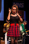 REASONS TO BE CHEERFUL by Sirett;<br /> Jude Mahon as Debbie - sign language interpreter; <br /> Directed by Sealey;<br /> Associate director: Beeton;<br /> Writer: Sirett;<br /> Designer: Ashcroft;<br /> Assistant designer: Charlesworth;<br /> Lighting designer: Scott;<br /> Sound designer: Gibson;<br /> Musical director: Hickman;<br /> Choreographer: Smith;<br /> Video designer: Haig;<br /> Projection design: Mclean; <br /> Music supervisor and Arrangements: Hyman;<br /> Voice coach: Holt; Casting: Hughes CDG<br /> BSL consultant: Jackson<br /> Audio description consultant: Oshodi<br /> Graeae Theatre Company;<br /> at The Belgrade Theatre, Coventry, UK;<br /> 8 September 2017;<br /> Credit: Patrick Baldwin;