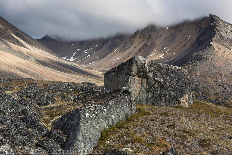 Rocks in the Brooks Range mountains, Gates of the Arctic National Park, Alaska