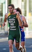 28 JUN 2012 - LONDON, GBR - Aaron Royle (AUS) of Australia during the run of the elite men's 2012 Canary Wharf Triathlon first heat in Canary Wharf, London, Great Britain .(PHOTO (C) 2012 NIGEL FARROW)