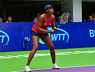 Washington, DC - July 25, 2018:  Venus Williams of the Washington Kastles prepares to return a serve during her Women's Singles match against Naomi Broady of the San Diego Aviators July 25, 2018.  (Photo by Don Baxter/Media Images International)