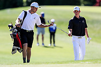 Luke Brown (caddy) and Daniel Hillier during the New Zealand Amateur Golf Championship final at Russley Golf Course, Christchurch, New Zealand. Sunday 5 November 2017. Photo: Simon Watts/www.bwmedia.co.nz