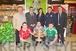COUNTY CHAMPIONSHIP: Launching the 2013 Gravey's Supervalu Kerry County Football Championship at Garvey's Supervalu, Tralee on Monday front l-r: Marc Ó Sé (West Kerry), James Walsh (St Kireans) and Bryan Sheehan (South Kerry). Back l-r: Tómas Garvey (director Gravey's Supervalu), Patrick O'Sullivan (chairman Kerry County Board), Sandra Lynch (manager Gravey's Supervalu), Ger Galvin (vice chairman Kerry County Board) and Jim Garvey (director Gravey's Supervalu).