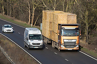 Straw lorry traveling on the A1<br /> &copy;Tim Scrivener Photographer 07850 303986<br />      ....Covering Agriculture In The UK....