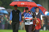 Ryder Cup K Club Straffin Co Kildare..American Ryder Cup Team player Tiger Woods and his caddy on the 17th fairway during the morning fourball session of the second day of the 2006 Ryder Cup at the K Club in Straffan, County Kildare, in the Republic of Ireland, 23 September, 2006..Photo: Barry Cronin/ Newsfile.