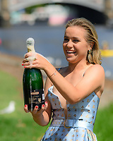 January 2, 2020: SOFIA KENIN (USA) sprays champagne at her trophy shoot as the Women's Singles champion of the Australian Open 2020 in Melbourne, Australia. Photo Sydney Low