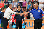 16 May 2015: New York head coach Giovanni Savarese (VEN) (left) shakes hands with Carolina head coach Colin Clarke (NIR) (right). The Carolina RailHawks hosted the New York Cosmos at WakeMed Stadium in Cary, North Carolina in a North American Soccer League 2015 Spring Season match. The game ended in a 2-2 tie.