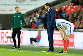 5th October 2017, Wembley Stadium, London, England; FIFA World Cup Qualification, England versus Slovenia; England Manager Gareth Southgate gets the attention of his players