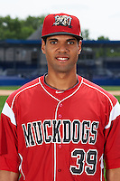 Batavia Muckdogs pitcher Nestor Bautista (39) poses for a photo on July 8, 2015 at Dwyer Stadium in Batavia, New York.  (Mike Janes/Four Seam Images)