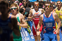 02 JUN 2013 - MADRID, ESP - Kyle Jones (CAN) (centre, in red and white) of Canada  on the run during the men's ITU 2013 World Triathlon Series round in Casa de Campo in Madrid, Spain <br /> (PHOTO (C) 2013 NIGEL FARROW)