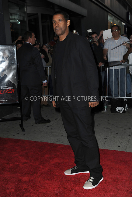 WWW.ACEPIXS.COM<br /> September 22, 2014 New York City<br /> <br /> Denzel Washington attending 'The Equalizer' New York Screening at AMC Lincoln Square Theater on September 22, 2014 in New York City.<br /> <br /> By Line: Kristin Callahan/ACE Pictures<br /> ACE Pictures, Inc.<br /> tel: 646 769 0430<br /> Email: info@acepixs.com<br /> www.acepixs.com