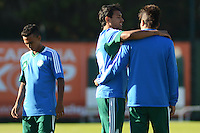 SÃO PAULO,SP, 16 julho 2013 -  Juninho , vinicius e Leandro durante treino do Palmeiras no CT da Barra funda  na zona oeste de Sao Paulo, onde a equipe faz jogo treino contra o Atletico Atibaia . FOTO ALAN MORICI - BRAZIL FOTO PRESS