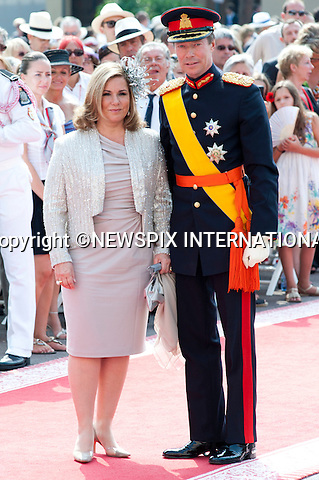 """MONACO ROYAL WEDDING.HRH Henri Grand-Duke of Luxembourg and Maria Teresa Mestre y Batista-Falla..Guests Arrive at the Religious wedding of H.S.H Prince Albert II and Miss Charlene Wittstock in the Prince's Palace._Prince's Palace Monaco 01/07/2011..Mandatory Photo Credit: ©Dias/Newspix International..**ALL FEES PAYABLE TO: """"NEWSPIX INTERNATIONAL""""**..PHOTO CREDIT MANDATORY!!: NEWSPIX INTERNATIONAL(Failure to credit will incur a surcharge of 100% of reproduction fees)..IMMEDIATE CONFIRMATION OF USAGE REQUIRED:.Newspix International, 31 Chinnery Hill, Bishop's Stortford, ENGLAND CM23 3PS.Tel:+441279 324672  ; Fax: +441279656877.Mobile:  0777568 1153.e-mail: info@newspixinternational.co.uk"""