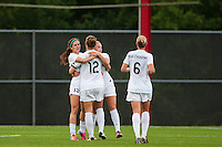 FC Kansas City midfielder Erika Tymrak (15) celebrates scoring with teammates during a National Women's Soccer League (NWSL) match against Sky Blue FC at Yurcak Field in Piscataway, NJ, on June 26, 2013.