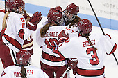 Hillary Crowe (Harvard - 8), Gina McDonald (Harvard - 10), Mary Parker (Harvard - 15), Sarah Edney (Harvard - 3) - The Boston College Eagles defeated the Harvard University Crimson 2-1 in the 2013 Beanpot opening round on Tuesday, February 5, 2013, at Matthews Arena in Boston, Massachusetts.