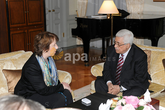 Palestinian President, Mahmoud Abbas (Abu Mazen), meets with Catherine Ashton in Berlin. photo by Thaer Ganaim