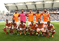 CARSON, CA - DECEMBER 01, 2012:  Starting eleven of the Houston Dynamo during the 2012 MLS Cup at the Home Depot Center, in Carson, California on December 01, 2012. The Galaxy won 3-1.