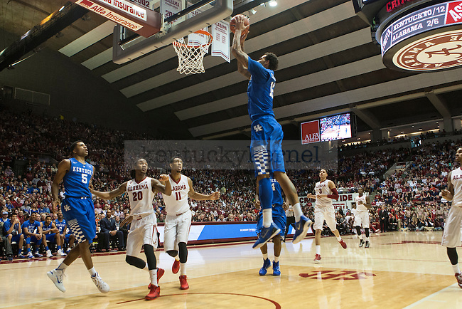Center Willie Cauley-Stein of the Kentucky Wildcats dunks a alley-ooo during the game against the Alabama Crimson Tide at Coleman Coliseum on Saturday, January 17, 2015 in in Tuscaloosa, AL. Kentucky defeated Alabama 70-48. Photo by Michael Reaves | Staff