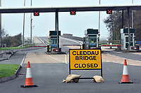 "Pictured: Cleddau Bridge is shut because of strong winds near Pembroke Dock, west Wales. Monday 16 October 2017<br /> Re: Remnants of Hurricane Ophelia are expected to bring strong gusts of wind to Wales when it hits Britain's shores.<br /> The hurricane, making its way from the Azores in the Atlantic Ocean, will have weakened to a storm when it arrives.<br /> A Met Office amber ""be prepared"" warning has been issued in some areas bringing ""potential danger to life""."