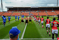 Kenya and Samoa players run out for the first match. Day one of the 2018 HSBC World Sevens Series Hamilton at FMG Stadium in Hamilton, New Zealand on Saturday, 3 February 2018. Photo: Dave Lintott / lintottphoto.co.nz
