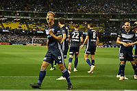 Melbourne, October 20, 2018 - Keisuke Honda of Melbourne Victory celebrates after kicking a goal in the round one match of the A-League between Melbourne Victory and Melbourne City at Marvel Stadium, Melbourne, Australia. Photo Sydney Low