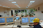 An operator sat in the control room of the smelting section of the nickel factory of Norilsk Nickel in  the city of Norlisk, in the Artic Circle in the far north of Russia.  June 13, 2007