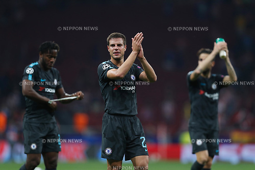Cesar Azpilicueta (Chelsea), SEPTEMBER 27, 2017 - Football / Soccer : Azpilicueta celebrate after winning UEFA Champions League Mtchday 2 Group C match between Club Atletico de Madrid 1-2 Chelsea FC at the Estadio Metropolitano in Madrid, Spain. (Photo by Mutsu Kawamori/AFLO) [3604]