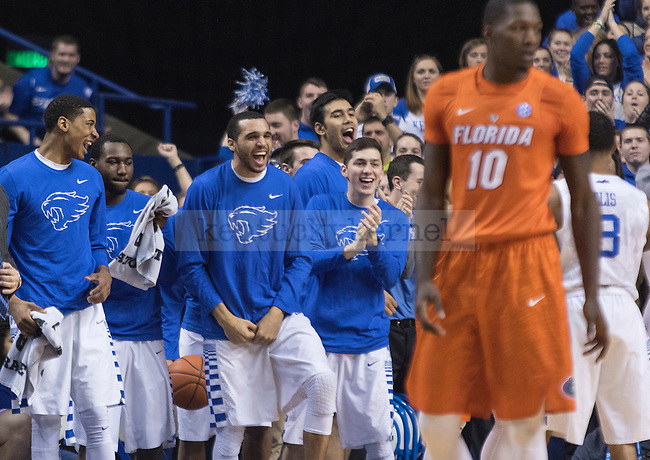 The bench erupts after a play during the game against the Florida Gators at Rupp Arena on February 6, 2016 in Lexington, Kentucky. Kentucky defeated Florida 80-61.