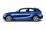 Driver side profile view of a 2012 - 2014 BMW 1-Series 118d M Sport 3 Door Hatchback 2WD.