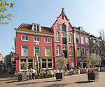Cafe in historic buildings in central Utrecht, Netherlands