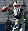 Charlie McKee #7, Oceanside freshman quarterback, throws a pass during the third quarter of the Nassau County football Conference I semifinals against Farmingdale at Shuart Stadium in Hempstead on Saturday, Nov. 10, 2018.
