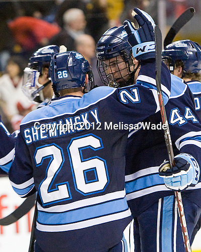 Adam Shemansky (Maine - 26), Ryan Hegarty (Maine - 44) - The University of Maine Black Bears defeated the Boston University Terriers in their Hockey East semi-final 5-3 (EN) on Friday, March 16, 2012, at TD Garden in Boston, Massachusetts.