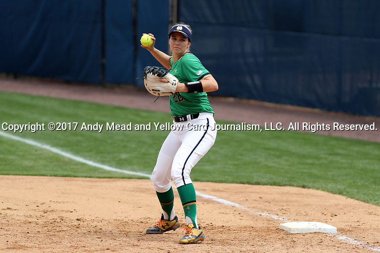 CHAPEL HILL, NC - MAY 11: Notre Dame's Sara White. The #4 Boston College Eagles played the #5 University of Notre Dame Fighting Irish on May 11, 2017, at Anderson Softball Stadium in Chapel Hill, NC in a 2017 Atlantic Coast Conference Tournament Quarterfinal Softball game. Notre Dame won the game 9-5 in eight innings.