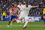 Real Madrid´s Karim Benzema (R) and Atletico de Madrid´s Koke during 2015/16 La Liga match between Real Madrid and Atletico de Madrid at Santiago Bernabeu stadium in Madrid, Spain. February 27, 2016. (ALTERPHOTOS/Victor Blanco)