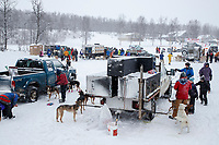 Teams get ready in the staging area for the start of the 2018 Junior Iditarod Sled Dog Race on Knik Lake in Southcentral, Alaska.  Saturday February 24, 2018<br /> <br /> Photo by Jeff Schultz/SchultzPhoto.com  (C) 2018  ALL RIGHTS RESERVED