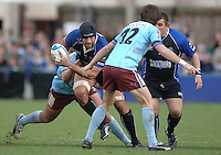 2005/06 Heineken Cup, Bath Rugby vs Bourgoin, The Rec, Bath,  ENGLAND: Danny Grewcock, changes directing to go through the gap as he starts on his try scoring run.   29.10.2005   © Peter Spurrier/Intersport Images - email images@intersport-images..
