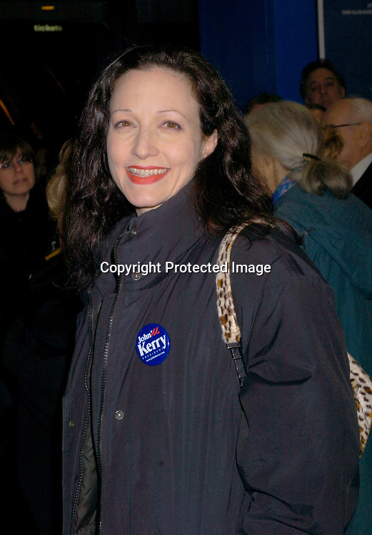 """Bebe Neuwirth with button for John Kerry ..at The Broadway opening of """" Fidler On The Roof"""" on ..February 26, 2004 at the Minskoff Theatre. Photo by ..Robin Platzer, Twin Images"""