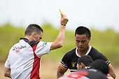Referee Ian Renall issues  a yellow card to Tusi Sateki as Te Kauwhat Captain Ben Ormsby watches on. Counties Manukau Premier Counties Power Club Rugby Round 2, Game of the Week, between Te Kauwhata and Onewhero, played at Te Kauwhata on Saturday March 17th 2018. <br /> Photo by Richard Spranger.<br /> <br /> Onewhero won the game 43 - 10 after leading 21 - 10 at halftime.<br /> Te Kauwhata EnviroWaste  10 - Lani Latu try,  Caleb Brown 1 conversion, Caleb Brown 1 penalty.<br /> Onewhero 43 - Jackson Orr 2, Ilaisa Koaneti 2, Vaughan Holdt, Zac Wootten, Rhain Strang tries, Vaughan Holdt 4 conversions.