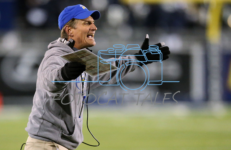 San Jose State's Head Coach Ron Caragher yells on the sidelines during the second half of an NCAA college football game in Reno, Nev., on Saturday, Nov. 16, 2013. Nevada defeated San Jose State 38-16.<br /> (AP Photo/ Cathleen Allison).