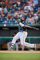 Jacksonville Jumbo Shrimp designated hitter Eric Jagielo (25) swings at a pitch during a game against the Mobile BayBears on April 14, 2018 at Baseball Grounds of Jacksonville in Jacksonville, Florida.  Mobile defeated Jacksonville 13-3.  (Mike Janes/Four Seam Images)