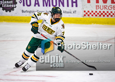 2 February 2020: University of Vermont Catamount Defender Maude Poulin-Labelle, a Sophomore from Sherbrooke, Québec, in overtime action against the Holy Cross Crusaders at Gutterson Fieldhouse in Burlington, Vermont. The Lady Cats rallied in the 3rd period to tie the Crusaders 2-2 in NCAA Women's Hockey East play. Mandatory Credit: Ed Wolfstein Photo *** RAW (NEF) Image File Available ***