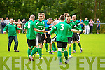 The Castleisland players celebrate after they defeated Listowel Celtic in the Denny Premier 'A' League Final Replay to win it for the first time since 1978 at  Mounthawk Park, Tralee on Sunday.