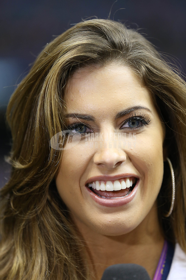 Feb 3, 2013; New Orleans, LA, USA; Television personality Katherine Webb on the sidelines before Super Bowl XLVII between the San Francisco 49ers and the Baltimore Ravens at the Mercedes-Benz Superdome. Mandatory Credit: Mark J. Rebilas-