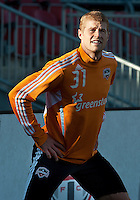 07 May 2011: Houston Dynamo defender Andre Hainault #31 warms up during an MLS game between the Houston Dynamo and the Toronto FC at BMO Field in Toronto, Ontario..Toronto FC won 2-1.