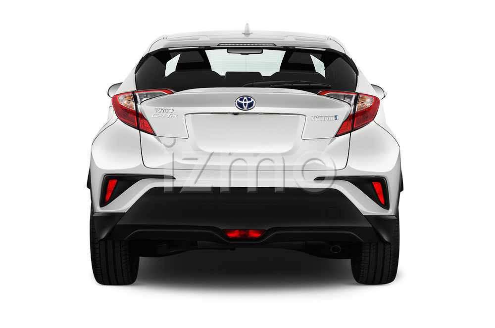 Straight rear view of a 2018 Toyota C-HR C-LUB 5 Door SUV stock images